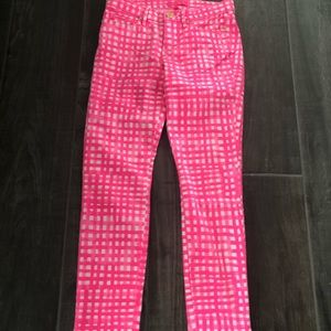 Lilly Pulitzer pink and white gingham pants size 6
